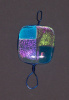 Wire, blue and pink dichroic square pendant