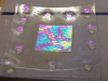 Clear plate with dichroic squares