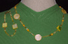 Jade and mother of pearl necklace and bracelet set